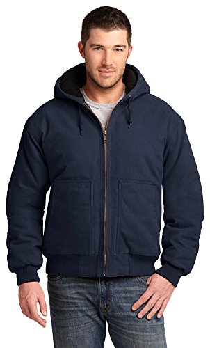 Cornerstone Hooded Work Jacket - CornerStone Mens Washed Duck Cloth Insulated Hooded Work Jacket, Medium, Navy