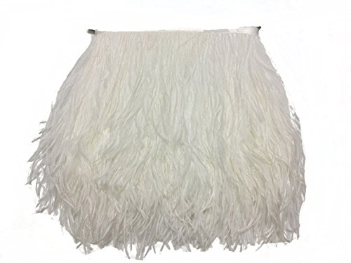 MELADY 5 Yards Fashion Dress Sewing Crafts Costumes Decoration Ostrich Feathers Trims Fringe with Satin Ribbon Tape (White) ()