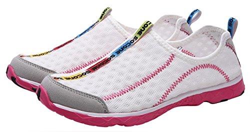 UJoowalk Frauen leichte Slip On Mesh Aqua Wasser Schuhe Rosa