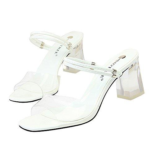Abierta Hueco Zapatos Alto Boca Hebilla Diamantes Blanco Tacón Decoración Imitación Pez De Punta Palabra Cinturón Zapatillas Sandalias ptww4TrXq