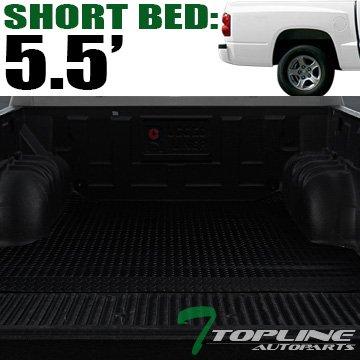 Topline Autopart Black Rubber Diamond Plate Truck Bed Floor Mat Liner For 00-10 Dodge / 11 Ram Dakota 5.5 Feet (66