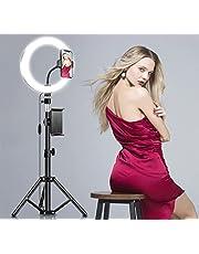 """10,2 """"LED Ring Light Camera Foto Video Verlichtingsset met Statief, 3 Lichtmodi en 10 Helderheidsniveaus, in Hoogte Verstelbaar, voor Live Show, YouTube, Vlog, Makeup"""