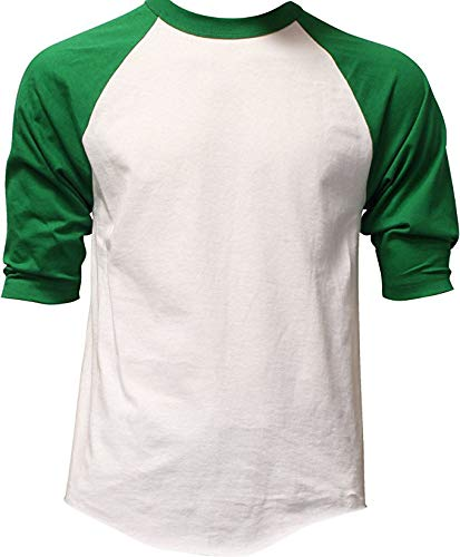 Casual Raglan Tee 3/4 Sleeve TShirt Baseball Jersey XL White Kelly Green, White / Kelly Green, X-Large