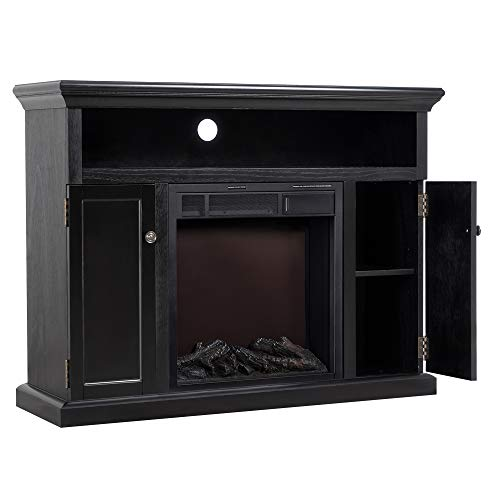 JAMFLY Electric Fireplace TV Stand for TV Up to 55 , Media Entertainment Center Fireplace Console Cabinet w LED Flames, Storage Bin, Remote Control, 750W-1500W, Black