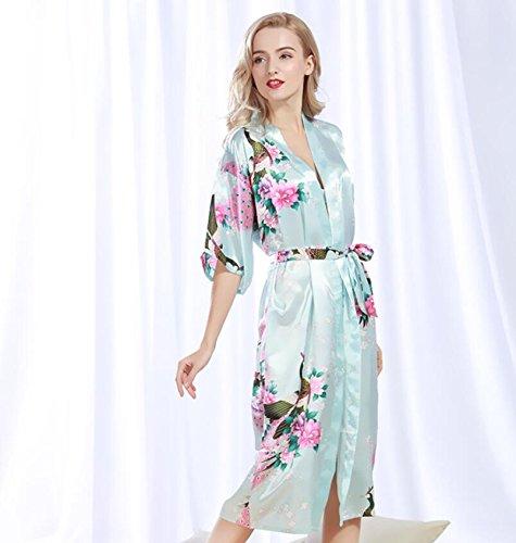 LJ&L Sra. Modelos de explosión de verano albornoces del traje del camisón de seda de punto pijamas delgados kimono aumento bata,Shallow purple,M Light Green