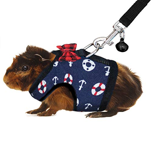RYPET Guinea Pig Leash and Harness - Navy Style Small Pet Harness with Safe Bell, No Pull Comfort Padded Vest for Guinea Pigs, Ferret, Chinchilla and Similar Small Animals ()