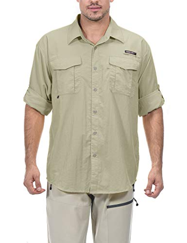 Little Donkey Andy Men's UPF 50+ UV Protection Shirt, Long Sleeve Fishing Shirt, Breathable and Fast Dry Beige XL