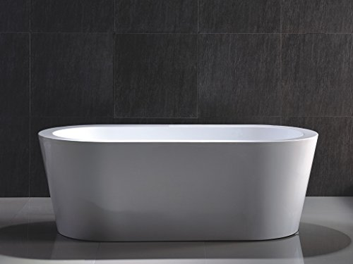 Kaifeng Modern Freestanding Acrylic Soaking Bathtub, Glossy White, KC-715KC (Free Standing Bathtub compare prices)