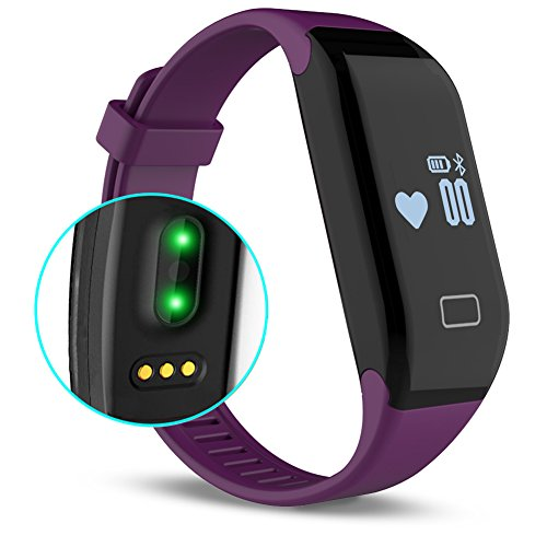 Fitness Tracker with Heart Rate monitor, E3 Activity Watch Step Walking Sleep Counter Wireless Wristband Pedometer Exercise Tracking Sweatproof Sports Bracelet for Android and iOS Purple, - Vue New Optical