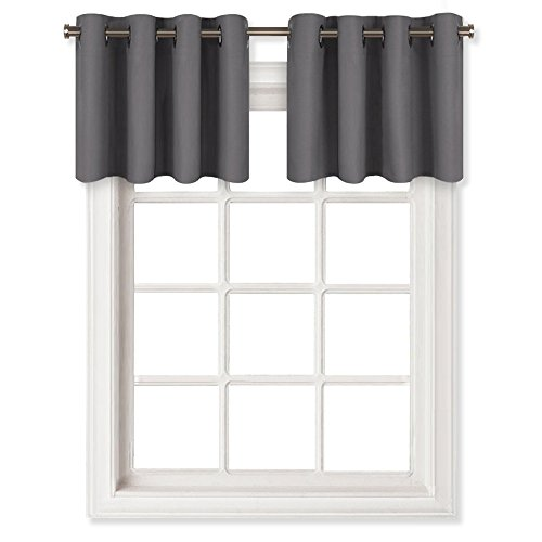 NICETOWN Grey Blackout Window Valance for Kitchen - Thermal Insulated Blackout Grommet Top Tier Curtain for Cafe Store (One Panel, 52W by 18L Inches, Grey)