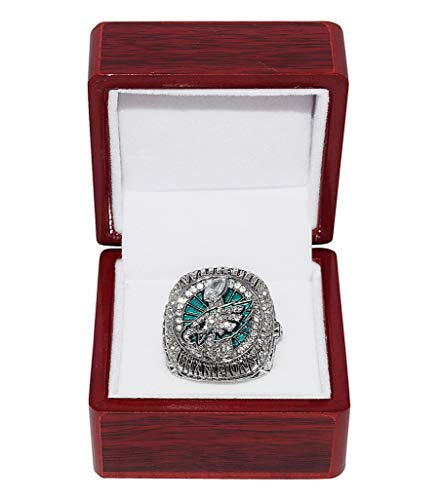 - PHILADELPHIA EAGLES (Nick Foles) 2018 SUPER BOWL LII WORLD CHAMPIONS (Vs. New England Patriots) Rare Collectible Replica Silver NFL Football Championship Ring with Cherrywood Display Box