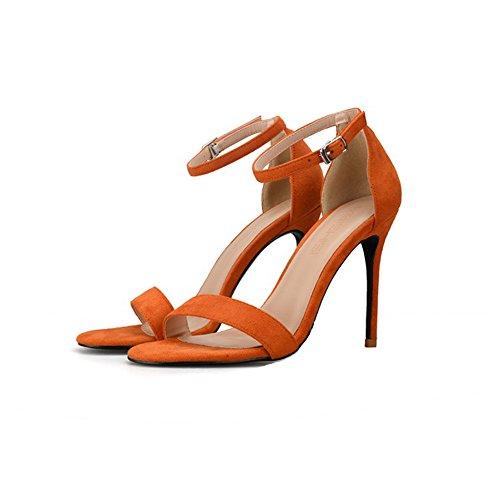 10cm 39 Grandi Allacciati Aperta Orange Dimensioni Punta Sexy Colore Sandali Tacchi Fini Sandali nqvnFR1f