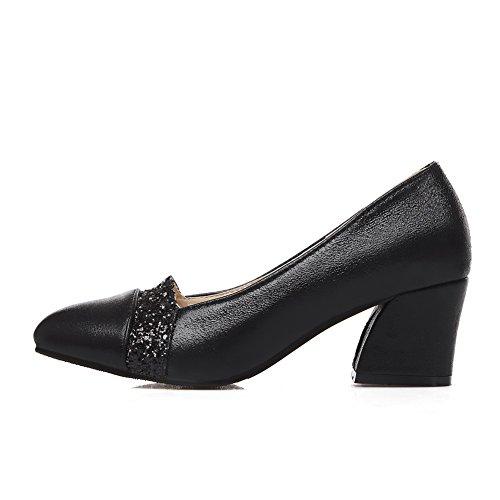 Balamasa Tacchi Chunky Paillettes Tomaia Bassa Imita Pumps-shoes In Pelle Nera