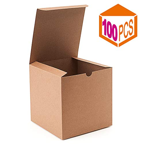 MESHA® Kraft Brown Boxes 100 Pack 6x6x6 Inches, Paper Gift Boxes with Lids for Gifts, Mugs, Cupcake Boxes