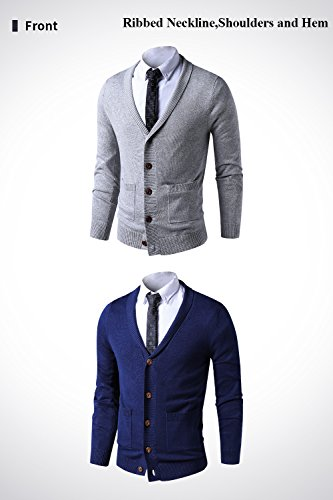 LTIFONE Mens Slim Fit Soft Cable Knit Shawl Collar Button Down Cardigan Sweater Ribbing Edge(Grey,M) by LTIFONE (Image #2)
