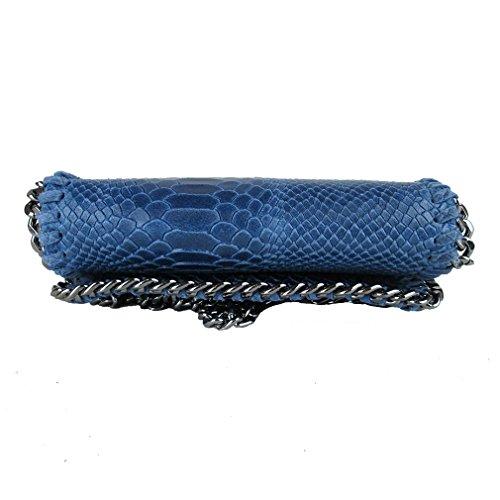 Clutch borsa da sera tracolla in catena vera pelle Made in Italy piton blu fg Almacenar El Precio Barato Cómoda En Línea Barata Tienda De Descuento En Línea Ver Online rj7V7yZJh