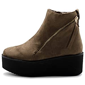 Ollio Women's Shoes Faux Suede Zip Up Platform Ankle Boots TWB0105 (9 B(M) US, Taupe)