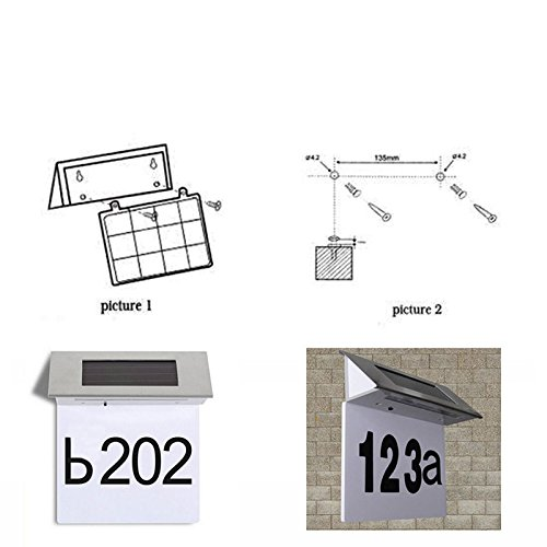 Mingruie Solar Power House Number Light 4 Led Doorplate Wall Lamp