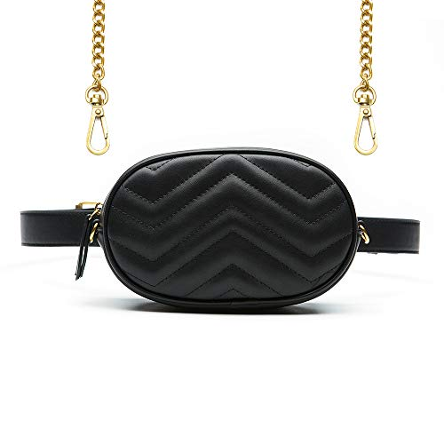 Herald Fashion Elegant Quilted Leather Fanny Pack Classy Wasit Bag with Two Belts -