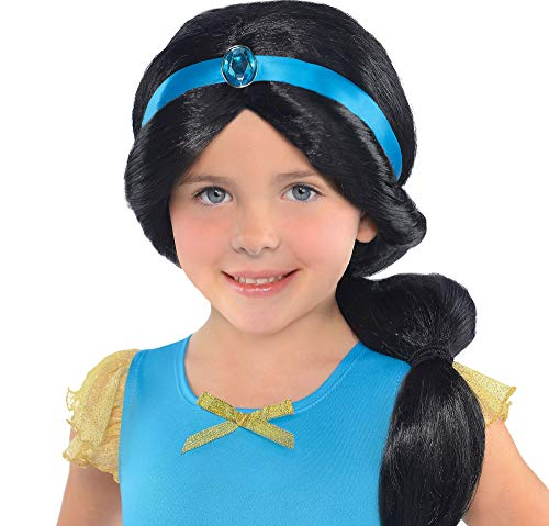 SUIT YOURSELF Aladdin Jasmine Wig for Children, Features a Ponytail and a Gemstone-Accented Blue Ribbon Headband