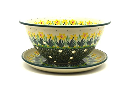 Polish Pottery Berry Bowl with Saucer - Daffodil