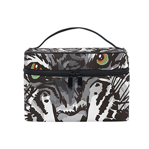 Makeup Bag Art Animal Face Tiger Howling Cosmetic Portable Storage -