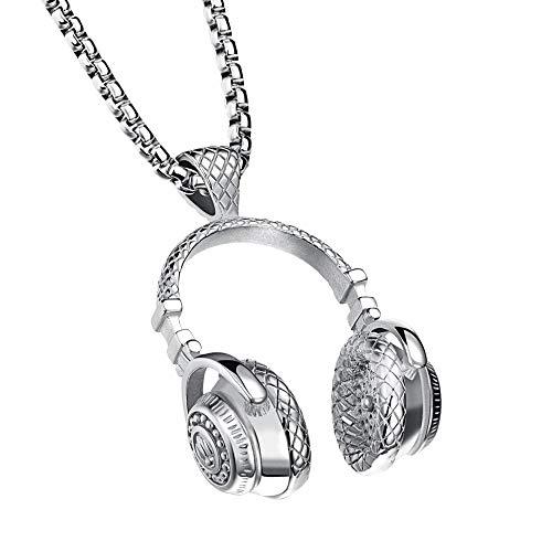 Cewtolkar Men Jewelry Boyfriends Necklace Hip Hop Pendant Punk Style Chain Microphone Necklace Earphone Pendant (Silver) (Diamond Gold Bar Style Bracelet)