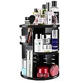 JSBelle Organizador de Maquillaje, 360 Grados de rotación Organizador de Maquillaje Caja de Almacenamiento de cosméticos multifunción Ajustable (Negro)