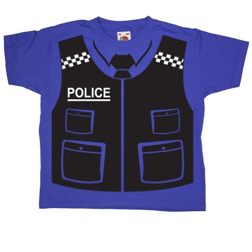 Kids Police Vest T Shirt - Royal Blue - 3-4 years ()