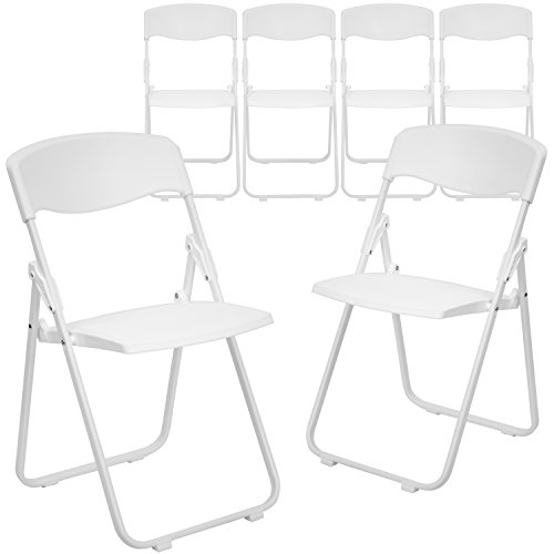 Flash Furniture 6 Pk. HERCULES Series 880 lb. Capacity Heavy Duty White Plastic Folding Chair with Built-in Ganging Brackets