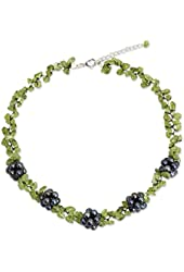 NOVICA Peridot Cultured Freshwater Pearl and Peridot Beaded Necklace with Extender, 'Heaven's Gift'