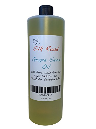 Grapeseed Oil 32 oz - Organic, Cold Pressed and 100% Pure - Great Benefits for Dry and Sensitive Skin - Treats Acne, Wrinkles, Under Eye Circles, Cellulitis, Dermatitis and Eczema - Promotes Hair Growth and Strength - 100% Satisfaction Guaranteed