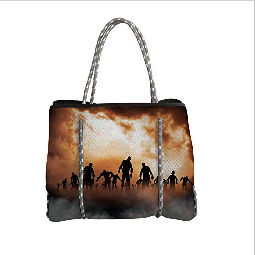 iPrint Neoprene Multipurpose Beach Bag Tote Bags,Halloween Decorations,Zombies Dead Men Body in The Doom Mist at Night Sky Haunted Decor,Orange Black,Women Casual Handbag Tote Bags ()