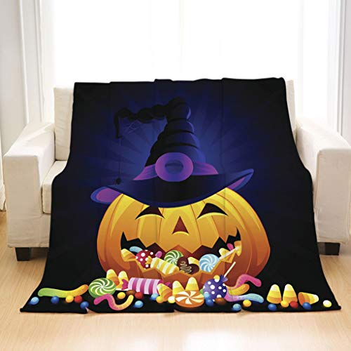 BEIVIVI Personality Design Home Soft Throw Blanket A Halloween Pumpkin with Candy Artistic Blankets for Living Room Sofa Bedding Travel Blankets]()