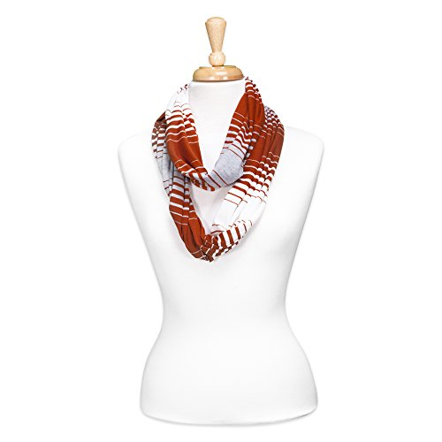 Tickled Pink Women's Striped Game Day T-Shirt Infintiy Scarf, Burnt Orange, One Size