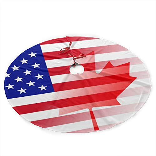 American Flag Canada Flag Merry Christmas Tree Skirt Xmas Holiday Xmas Tree Decorations