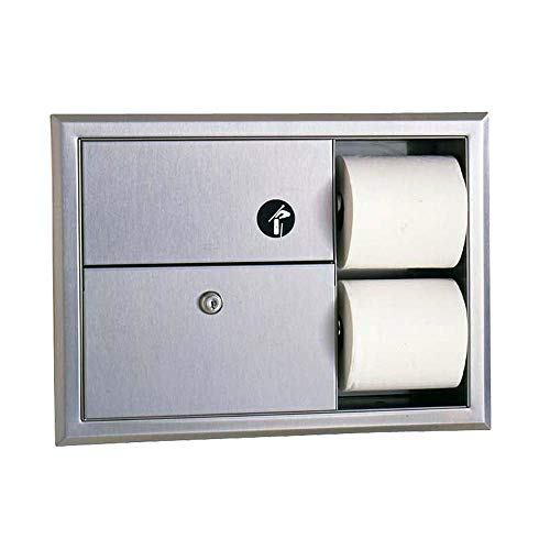 (Bobrick B3094 Classic Series Recessed Sanitary Napkin Disposal & Toilet Tissue Dispenser)