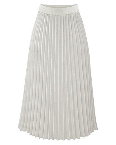 Mujer Alta Cintura Ocio Midi Falda Verano Playa Vacaciones Plisadas Faldas Blanco