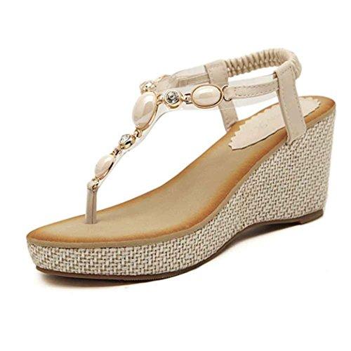 Transer 2016 1Pair de las mujeres del dedo del pie dulce de la manera del casquillo moldeado de Pisos Pisos de Bohemia espina de pescado zapatos de la alta ayuda de playa de las sandalias Beige