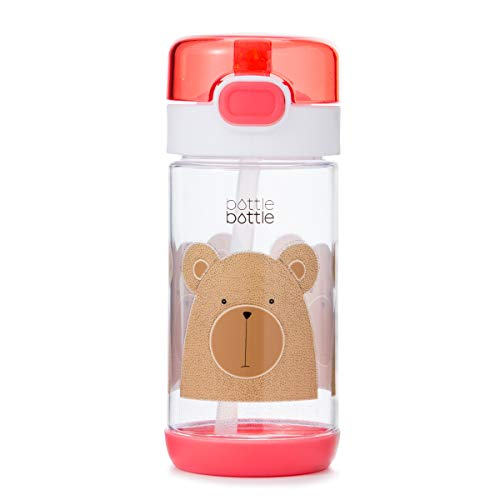 11.5/12oz Tritan Leak Proof Kids Water Bottle – BPA Free Travel Mug with Flip Lid and Straw (Pink with Bear)