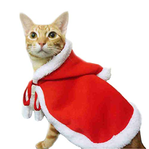 ZARYIEEO Cat Christmas Santa Claus Cloak, Dog Hooded Coat, Warm Winter Fleece Clothes, Xmas Party Holiday Dress-up for…