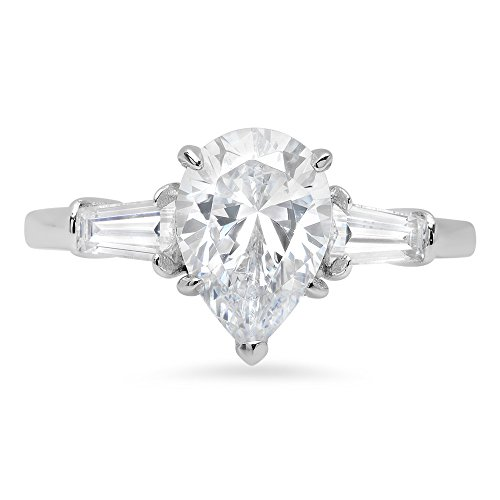 2.6ct Brilliant Pear Baguette Cut Solitaire 3-Stone Statement Ring 14k Solid White Gold