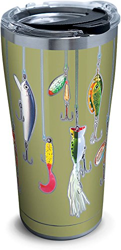 Tervis 1261367 Fishing Lures Stainless Steel Tumbler with Clear and Black Hammer Lid 20oz, Silver