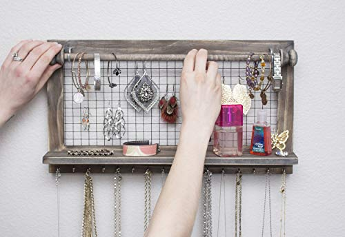 Rustic Jewelry Organizer with Bracelet Rod Wall Mounted l Wooden