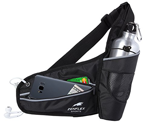 Zenflex Running Belt, Adjustable Hydration Belt for Waist with Water Bottle Holder, Cellphone Pouch and Earphone Outlet Ideal for Running, Jogging, Hiking, etc for Men and Women
