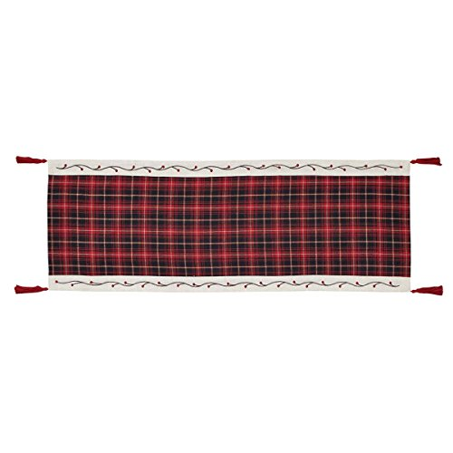 (Christmas Holiday Tabletop & Kitchen - Seasons Greetings Red Runner, 13