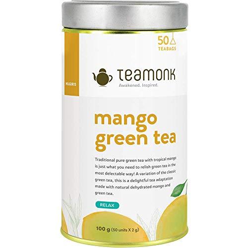 Teamonk Mango Green Tea, Long Leaf 50 Tea Bags, 100 g