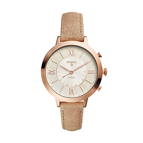 Fossil Q Women's Jacqueline Stainless Steel and Leather Hybrid Smartwatch, Color: Rose Gold-Tone, Beige (Model: FTW5013)