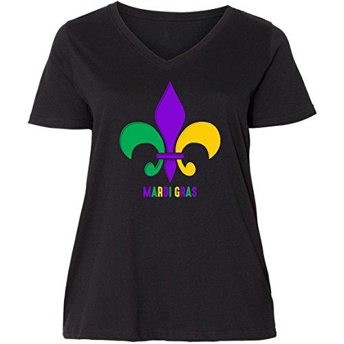 inktastic Mardi Gras Fleur De Lis Ladies Curvy V-Neck Tee 1 (14/16) Black