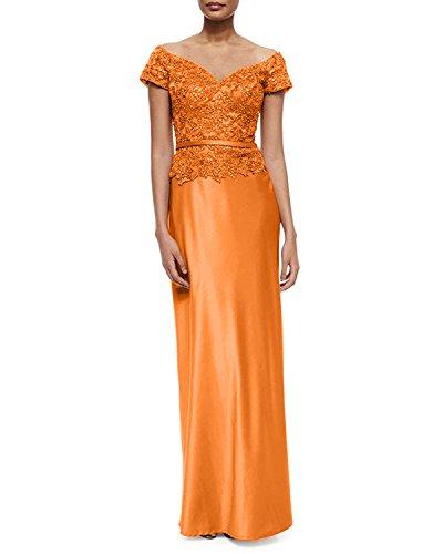Abschlussballkleider Brautmutterkleider Orange Damen Orange Promkleider Braut Satin La Abendkleider Lang Kurzarm mia qA0cnwcz